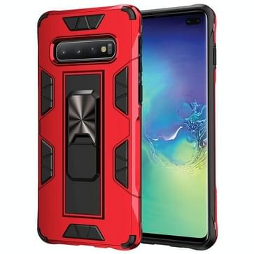 Voor Samsung Galaxy S10 Soldier Armor Shockproof TPU + PC Magnetic Protective Case met Holder(Red)