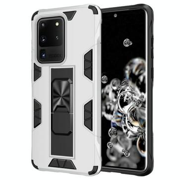 Voor Samsung Galaxy S20 Ultra Soldier Armor Shockproof TPU + PC Magnetic Protective Case met Holder(White)