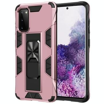 Voor Samsung Galaxy S20 Soldier Armor Shockproof TPU + PC Magnetic Protective Case met Holder(Rose Gold)