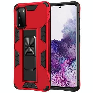 Voor Samsung Galaxy S20 Soldier Armor Shockproof TPU + PC Magnetic Protective Case met Holder(Red)