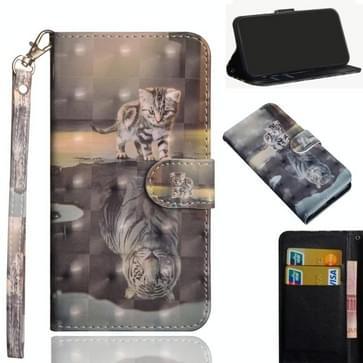 Voor Samsung Galaxy Note 20 3D-schilderpatroon Horizontaal Flip TPU + PU lederen hoesje met Holder & Card Slots & Wallet(Cat Tiger)