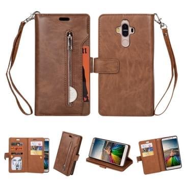 Voor Huawei Mate 9 Multifunctionele Rits Horizontale Flip Lederen Case met Holder & Wallet & 9 Card Slots & Lanyard(Bruin)