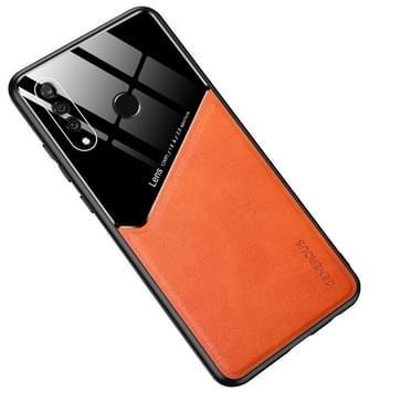 Voor Huawei P30 Lite All-inclusive Leder + Organische Glazen Beschermhoes met metalen ijzeren plaat (geel)