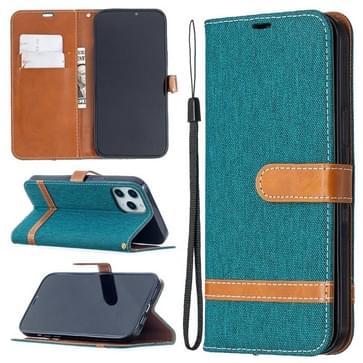 Voor iPhone 12 Pro Max Kleur Matching Denim Textuur Horizontale Flip Lederen Case met Holder & Card Slots & Wallet & Lanyard(Groen)