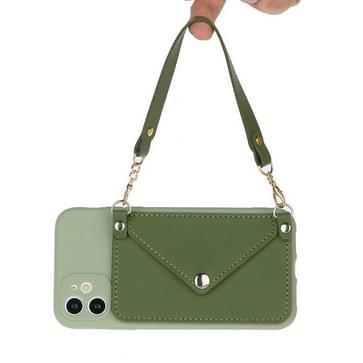 Voor iPhone 11 Pro Solid Color PU + TPU Handheld Beschermhoes met Wallet & Lanyard(Groen)