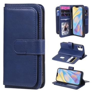 Voor iPhone 12 mini Multifunctionele Magnetische Koperen gesp Horizontale Flip Solid Color Lederen case met 10 Card Slots & Wallet & Holder & Photo Frame(Donkerblauw)