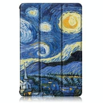 Voor Huawei Geniet van Tablet 2 10 1 inch / Honor Pad 6 10 1 inch Gekleurd tekenpatroon Horizontaal Flip Lederen hoesje met drievouwende houder & slaap / wake-up functie (Starry Sky)