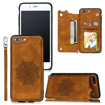 Voor iPhone 8 Plus & 7 Plus Mandala Embossed PU + TPU Case met Holder & Card Slots & Photo Frame & Hand Strap(Brown)