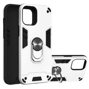 Voor iPhone 12 Pro Max Armour Series PC + TPU beschermhoes met ringhouder(Zilver)
