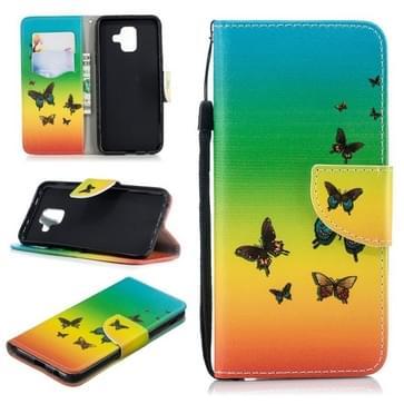 Voor Samsung Galaxy A6 (2018) Gekleurd tekenpatroon Horizontaal Flip TPU + PU Lederen hoesje met Holder & Card Slots & Wallet & Lanyard(Rainbow Butterfly)