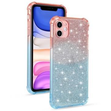 Voor iPhone 11 Pro Max Gradient Glitter Powder Shockproof TPU Beschermhoes (Oranje Blauw)