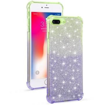 Voor iPhone 8 Plus / 7 Plus Gradient Glitter Powder Shockproof TPU Beschermhoes (Groen Paars)
