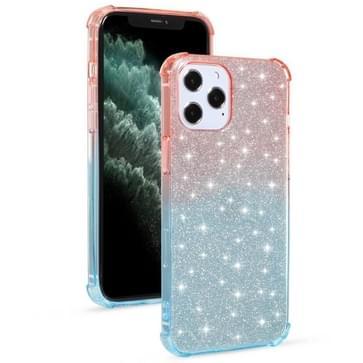 Voor iPhone 12 / 12 Pro Gradient Glitter Powder Shockproof TPU Beschermhoes (Oranje Blauw)