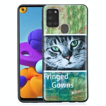 Voor Samsung Galaxy A21s Painted Pattern Soft TPU Case(Cat)