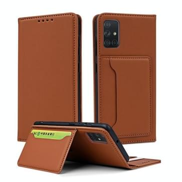 Voor Samsung Galaxy A71 Strong Magnetism Liquid Feel Horizontal Flip Leather Case met Holder & Card Slots & Wallet(Brown)