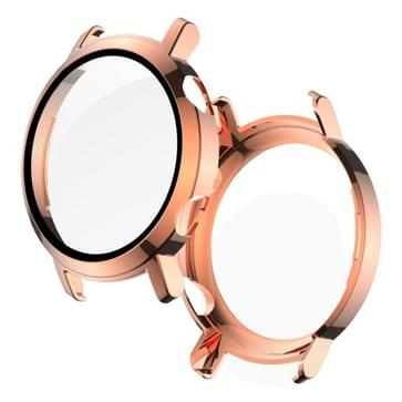 Voor Huawei Watch GT2 42mm 2 in 1 Tempered Glass Screen Protector + Fully Plating PC Case (Rose Gold)