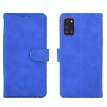 Voor Samsung Galaxy A31 Solid Color Skin Feel Magnetic Buckle Horizontal Flip Calf Texture PU Leather Case met Holder & Card Slots & Wallet(Blue)