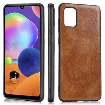 Voor Samsung Galaxy A31 Crazy Horse Getexturd Kalfskin PU+PC+TPU Case(Bruin)