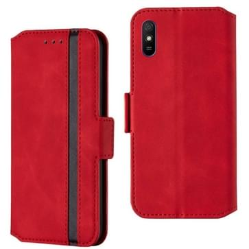 Voor Xiaomi Redmi 9A Retro Frosted Oil Side Horizontale Flip PU Lederen case met Holder & Card Slots(Red)