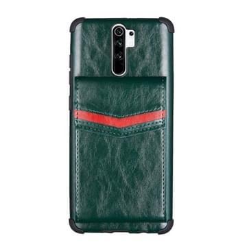 Voor Xiaomi Redmi 9 Flip Card Bag Copper Buckle TPU + PU Leather Back Cover Shockproof Case met Card Slots & Photo Frame(Groen)