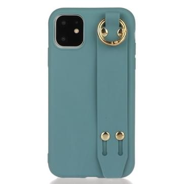 Voor iPhone 12 mini Schokbestendige Solid Color TPU case met polsbandje (Lake Blue)