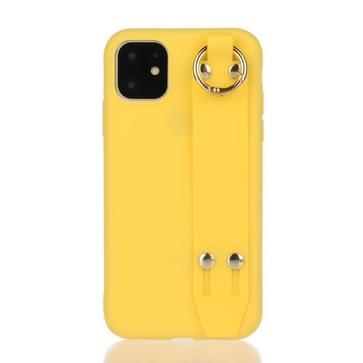 Voor iPhone 12 / 12 Pro Schokbestendige Effen Kleur TPU case met polsbandje(Geel)