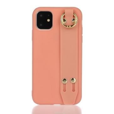 Voor iPhone 12 / 12 Pro Schokbestendige Solid Color TPU case met polsbandje (Coral Orange)