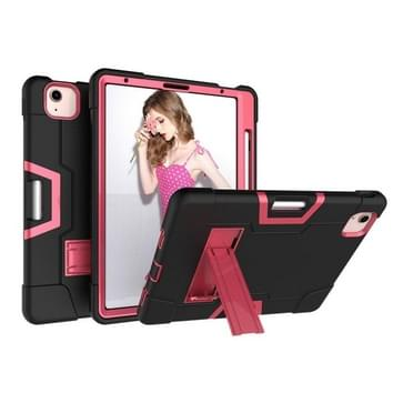 Voor iPad Air (2020) 10.9 Contrast Color Robot Shockproof Silicon + PC Protective Case met Holder & Pen Slot (Zwart + Rose Red)
