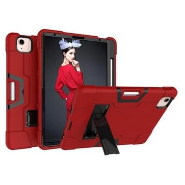 Voor iPad Air (2020) 10.9 Contrast Color Robot Shockproof Silicon + PC Protective Case met Holder & Pen Slot(Rood + Zwart)