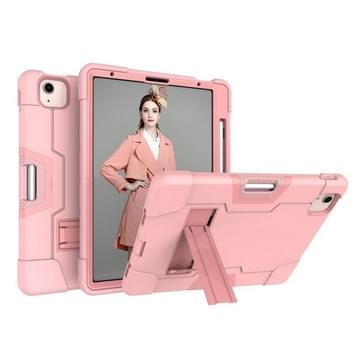 Voor iPad Air (2020) 10.9 Contrast Color Robot Shockproof Silicon + PC Protective Case met Holder & Pen Slot (Rose Gold)