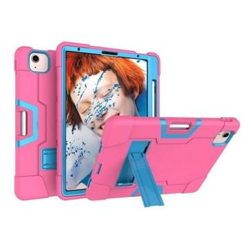 Voor iPad Air (2020) 10.9 Contrast Color Robot Shockproof Silicon + PC Protective Case met Holder & Pen Slot (Rose Red + Blauw)