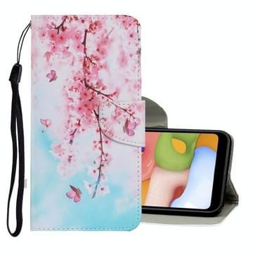 Voor Samsung Galaxy A20s Gekleurd tekenpatroon Horizontaal Flip PU Lederen Hoesje met Holder & Card Slots & Wallet & Lanyard(Cherry Blossoms)