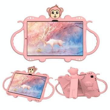 Voor Samsung Galaxy Tab A7 (2020) T500/T505 Cartoon Monkey Kids Tablet Schokbestendige EVA beschermhoes met Holder & Shoulder Strap & Handle(Rose Gold)