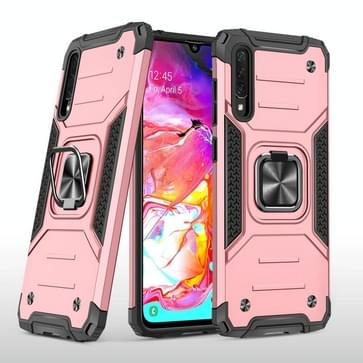 Voor Samsung Galaxy A70 Magnetic Armor Shockproof TPU + PC Case met metalen ringhouder(Rose Gold)