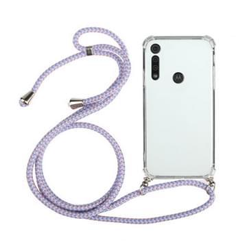 Voor Motorola Moto G8 Play Four-Corner Anti-Fall Transparante TPU beschermhoes met Lanyard (Paars)