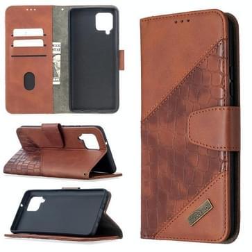 Voor Samsung Galaxy A42 5G Matching Color Crocodile Texture Horizontale Flip PU Lederen case met Wallet & Holder & Card Slots(Bruin)