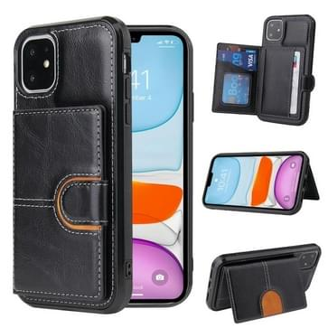 PU + TPU + PC Shockproof Back Cover Case met kaartslot & houder voor iPhone 12 / 12 Pro(Zwart)