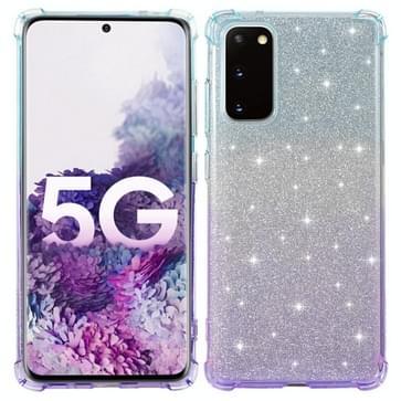 Voor Samsung Galaxy S20 FE 5G Gradiënt Glitter Poeder Schokbestendige TPU Beschermhoes (Blauw Paars)