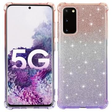 Voor Samsung Galaxy S20 FE 5G Gradiënt Glitter Poeder Schokbestendige TPU Beschermhoes (Oranje Paars)