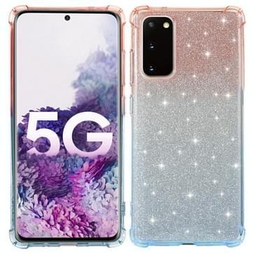 Voor Samsung Galaxy S20 FE 5G Gradiënt Glitter Poeder Schokbestendige TPU Beschermhoes (Oranje Blauw)