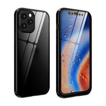 Dubbele zijden Gehard glas magnetische adsorptie Metalen Frame HD-scherm case voor iPhone 12 / 12 Pro (Zwart)
