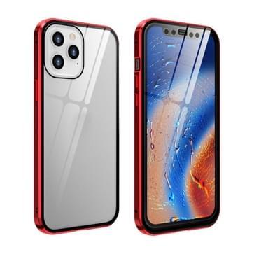 Dubbele zijkanten Gehard glas magnetische adsorptie Metalen Frame HD-schermcase voor iPhone 12 / 12 Pro(Rood)
