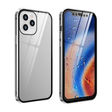 Dubbele zijden Gehard glas magnetische adsorptie Metalen Frame HD-scherm case voor iPhone 12 / 12 Pro (Zilver)