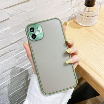 Electroplating All-Inclusive Pure TPU Beschermhoes met metalen lenshoes voor iPhone 11 Pro Max (Groen Grijs)
