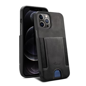 H10 TPU + PU Leather Shockproof beschermhoes met kaartsleuf voor iPhone 12 / 12 Pro(Zwart)