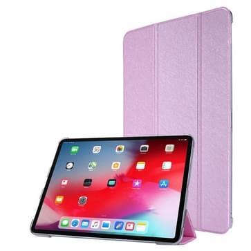 Zijdetextuur Horizontale flip magnetische pu-leren behuizing met drievouwbare houder & slaap / Wake-up Functie iPad Air (2020) 10.9 (Licht paars)