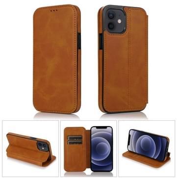 Sterke magnetische sluiting PU + TPU lederen hoes met kaartslots & houder voor iPhone 12 mini(Khaki)