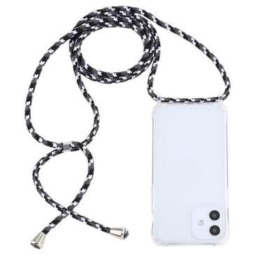 Transparante acryl airbag schokbestendige telefoon beschermhoes met Lanyard voor iPhone 12 Mini (Zwart Wit Grijs)