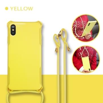 Colorful Candy Shockproof PET Back Cover+ TPU Frame Phone Protective Case With Lanyard Neck Strap Rope?Adjustable length: 113CM? For Huawei P30 Pro(Yellow)