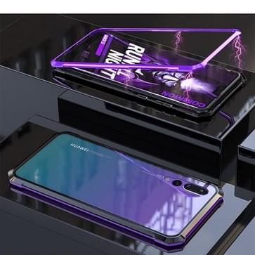 Ultra Slim Magnetic Adsorption Angular Frame Tempered Glass Magnet Flip Case for Huawei  P20 Pro ( Purple)